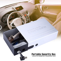 HOT Portable Car Safe Box Key Lock Safes Jewelry Cash Pistol Storage Boxes Aluminum Security Fixed With Wire Rope Fixed