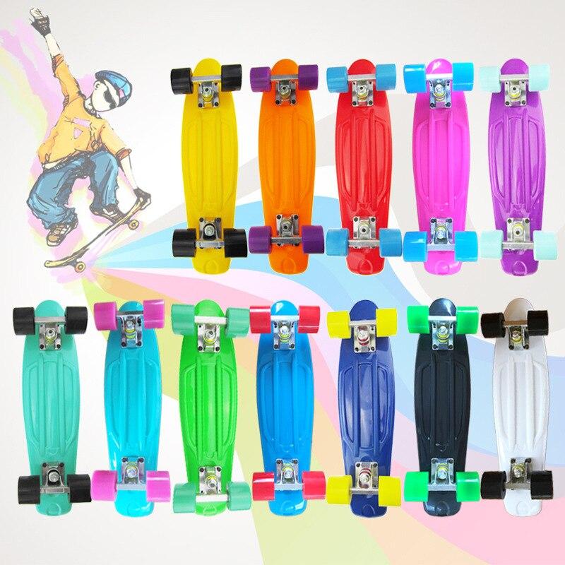 New Style [Printed Round Sale] Skateboard Fish Skateboard Pu Transparent Wheel Four Wheel Er Tong Ban
