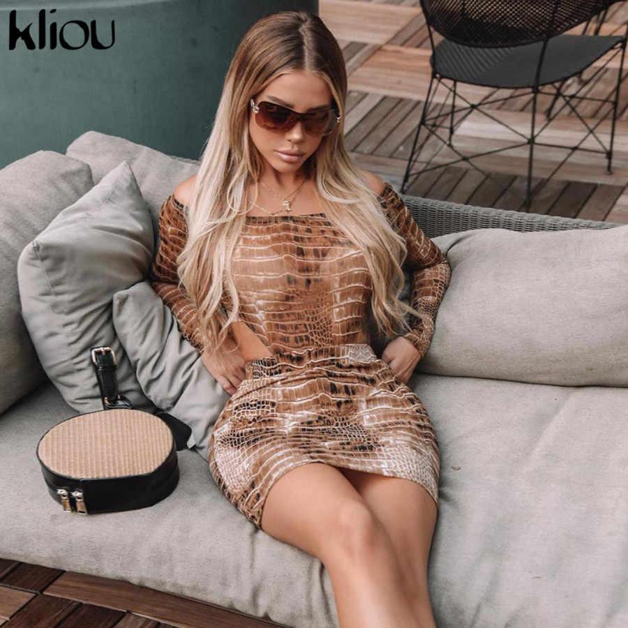 Kliou 2019 ワニプリントスラッシュネックのセクシーなボディスーツスカート 2 枚セット秋冬女性ストリート衣装スリムトラックスーツ