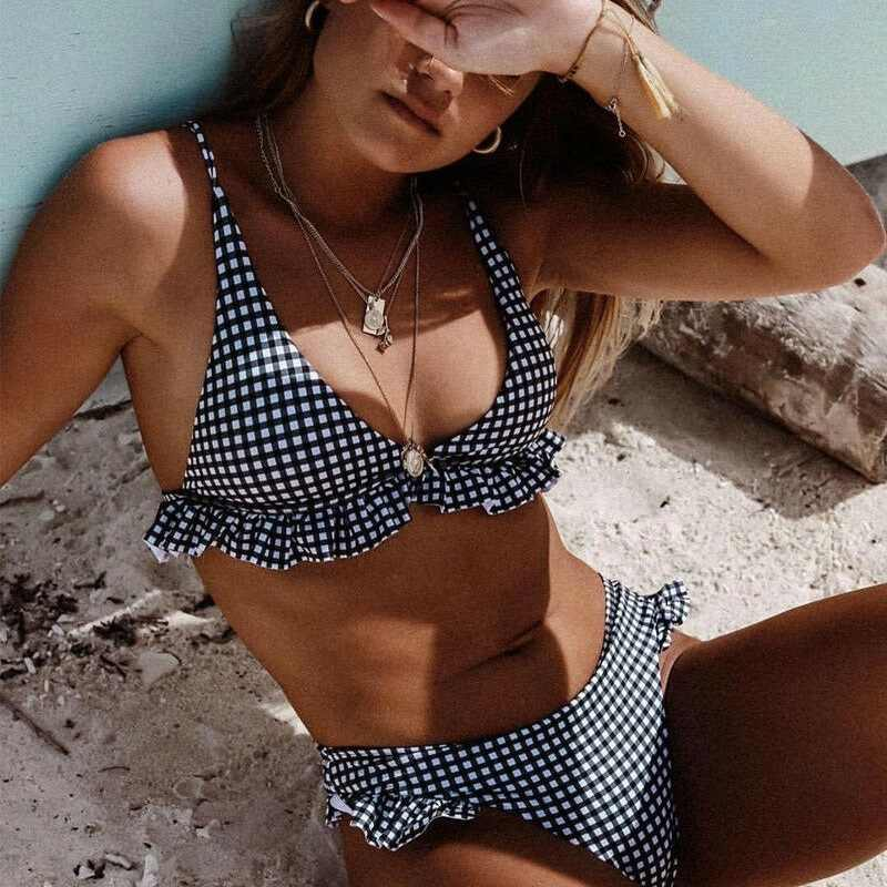 Bikinis Set Plaid High Waist Ruffle Women's Swimsuit Sexy Two Piece Bathing Suits Swimming Women Dot Swimsuit Push-up Bikini Set