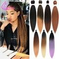 Легкая, заплетённые волосы 26 дюймов длинные Джамбо косички яки прямые, на крючке, синтетические волосы с эффектом деграде (переход от темног...