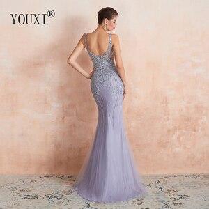 Image 2 - YOUXI יוקרה חרוזים קריסטל ערב שמלות 2020 סקסי Sheer צוואר לבנדר בת ים פורמליות לנשף שמלות לנשים ללא שרוולים