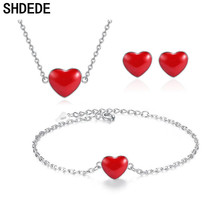 SHDEDE Red Heart Necklace Earrings Bracelet Jewelry Sets For Women Gift Wedding Bride Party Korea Trendy Accessories цена 2017