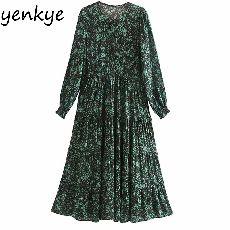 2019 Women Vintage Floral Print Dress Female Round Neck Long Sleeve Midi Casual Pleated  Autumn Dress Plus Size Vestidos