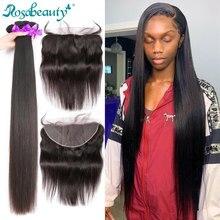 Rosabeauty – tissage et fermeture de cheveux brésiliens 100% naturels Remy, lisses, avec Lace Frontal 13x4, 28 30 pouces, lots de 3 4