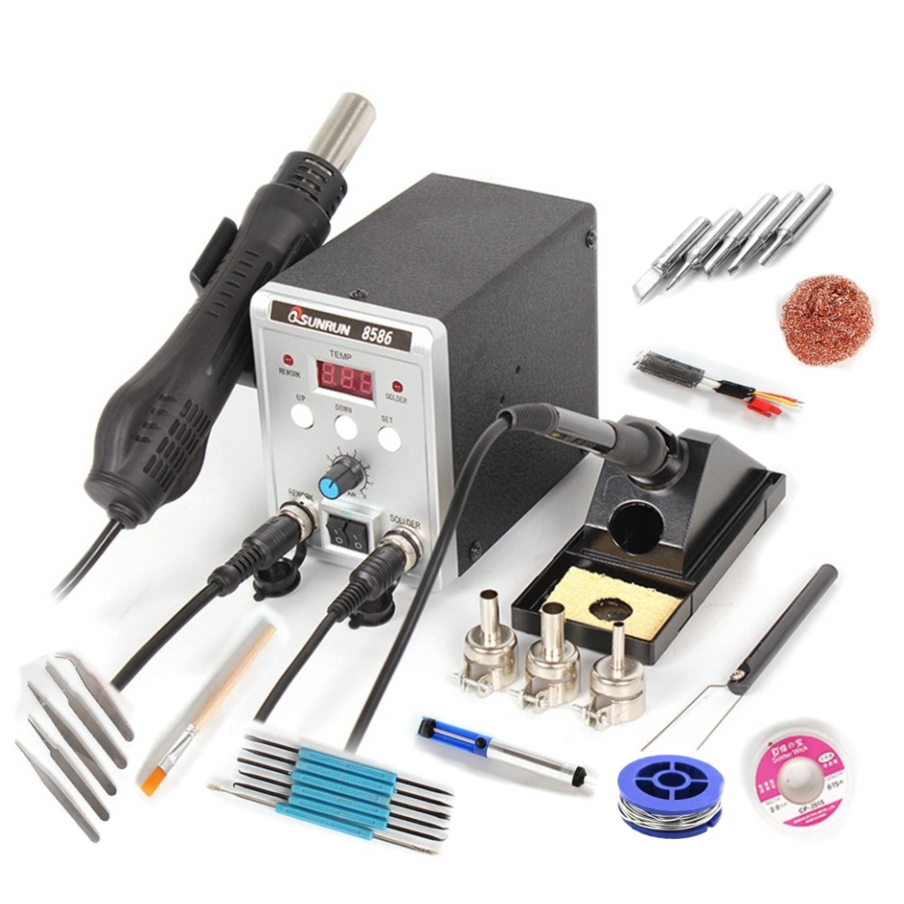 Electric Soldering Iron Hot Air Gun 2in1 700W 8586 Solder Station SMD Rework Soldering Desoldering Welding Repair Kit Tool