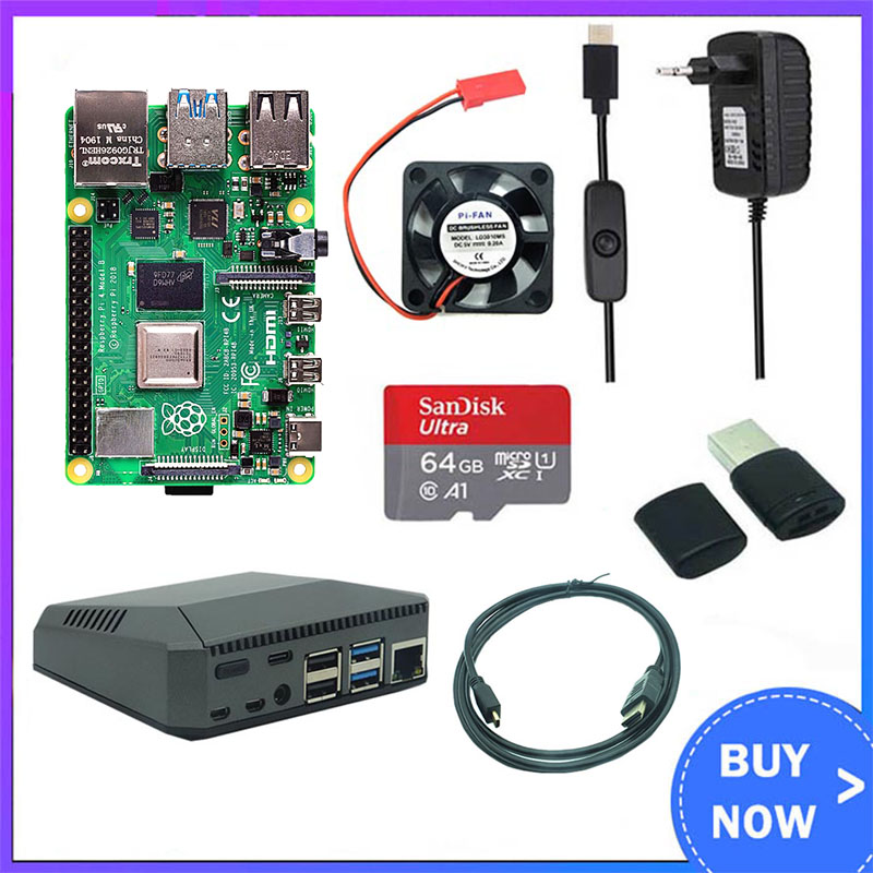 Raspberry Pi 4 Model B 2GB/4GB Kit Board + Aluminum Case+3A Switch Power + 32/64GB SD Card + HDMI Cable +Fan For Raspberry Pi 4