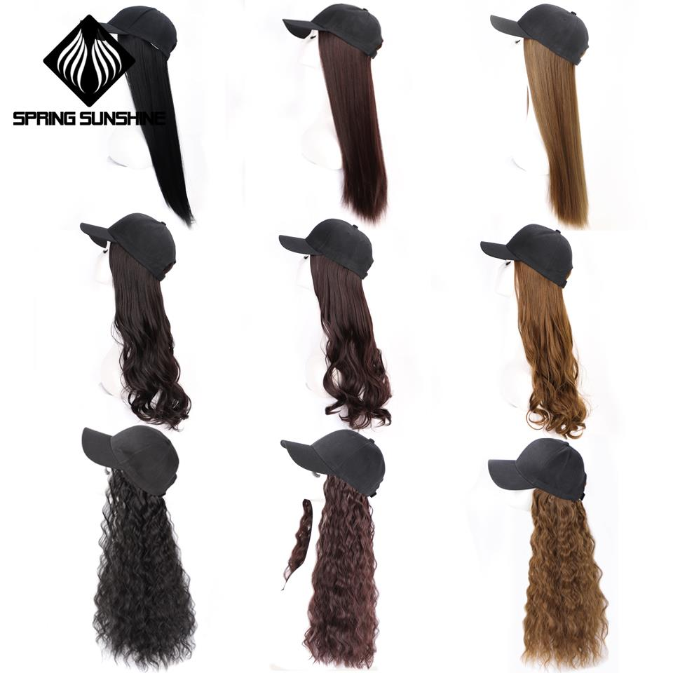 22inch Long Afro Kinky Straight Baseball Cap Hair Extensions Wavy Synthetic Extension For Girls Party Intergrate Cap Hair Wig