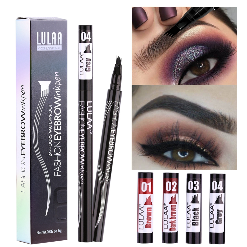 LULAA Women Makeup Sketch Liquid 4-Claw Eyebrow Pencil Waterproof Brown Eye Brow Tattoo Dye Tint Pen Liner Long Lasting Eyebrow