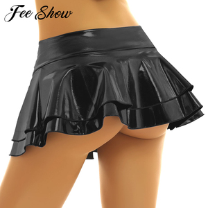 Women Shiny Metallic Low Rise Ruffled Pole Dance Shorts Skirt Leather Club Party Dancing Festival Rave Costume Sexy Mini Skirts