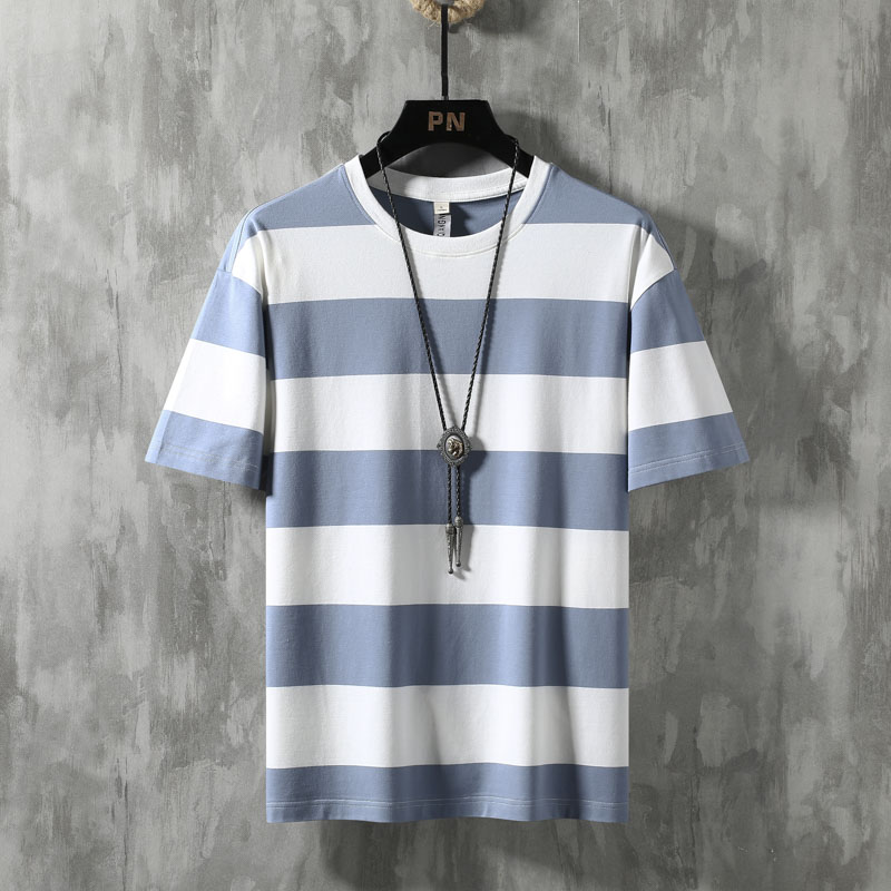2020 New Summer Cotton Striped Blue T Shirt Men Tshirt Brand T-shirt Shorts Sleeve Tee Shirt Male Fashion Clothes Casual Top 65