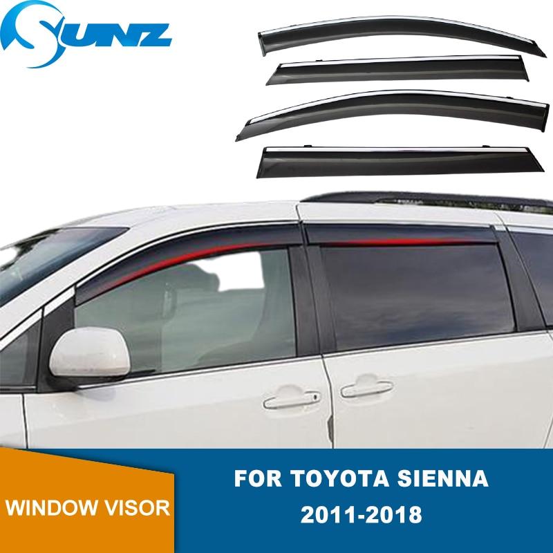 Side Window Visor For Toyota Sienna 2011 2012 2013 2014 2015 2016 2017 2018 2019 2020 4pcs Weathershields Wind Rain Guards  SUNZ