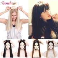 Накладные волосы на клипсе BENEHAIR, длинные прямые синтетические волосы на клипсе, зажим для парика для женщин, искусственные волосы с челкой