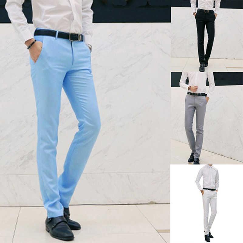 Pantalones Largos Informales A La Moda De Primavera Y Otono De 2020 Para Hombre Pantalones Elasticos Rectos Formales Para Hombre Tallas Grandes Pantalones De Traje Aliexpress