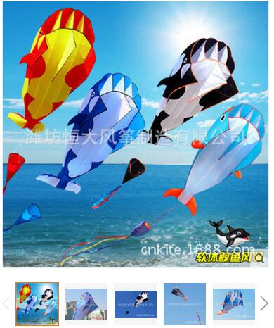 3D 215cm Dolphin Soft Kite Nylon Fabric Kite Line Animated Kites Fishing Inflatable Kite Outdoor Toy Fly Octopus