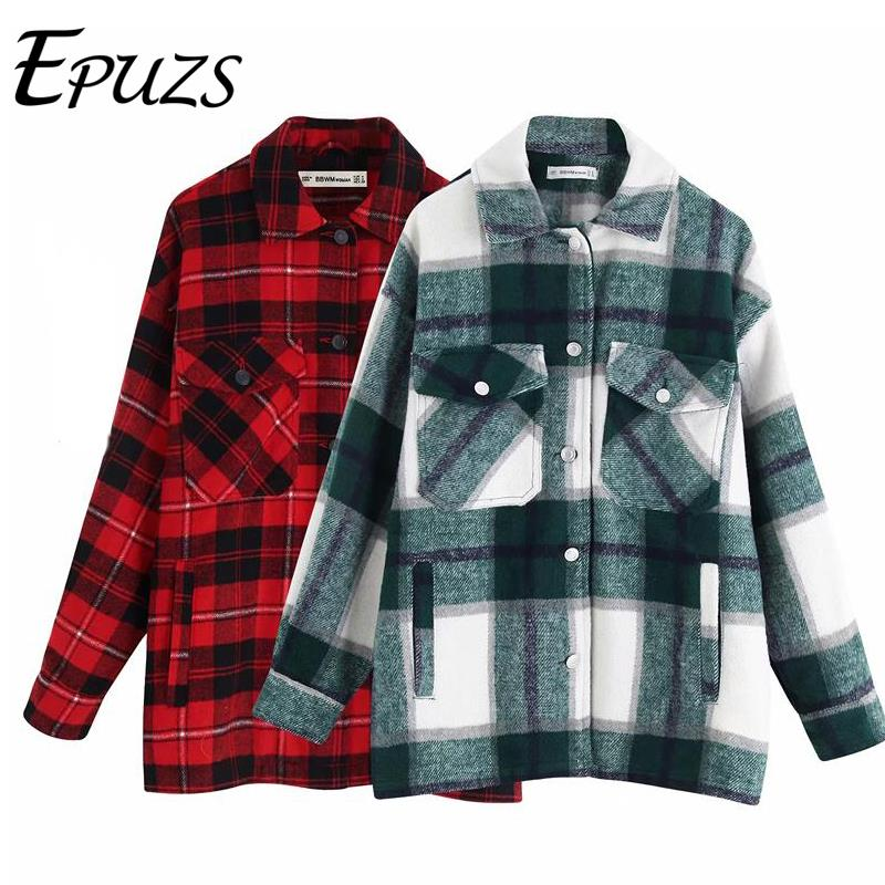 autumn red Plaid coats and jackets women streetwear fashion Long Sleeve office jackets coats Oversized Outerwear 2019