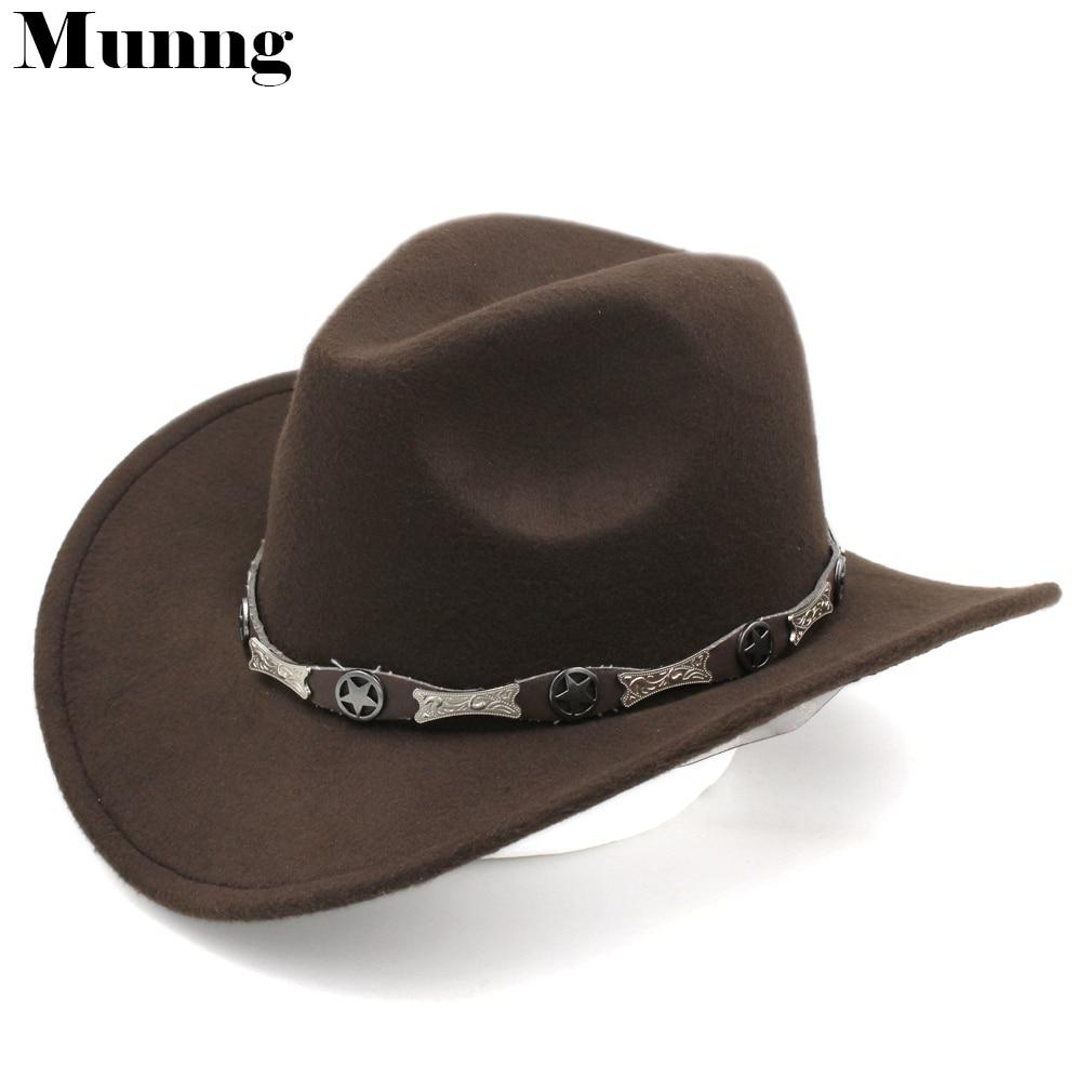 Munng Unisex Fashion Wool Blend Western Cowboy Hat Wide Brim Sombrero Jazz Cap