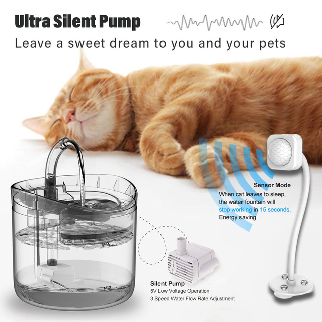 DownyPaws 2L Automatic Cat Water Fountain With Faucet Dog Water Dispenser Transparent Filter Drinker Pet Sensor Drinking Feeder 4