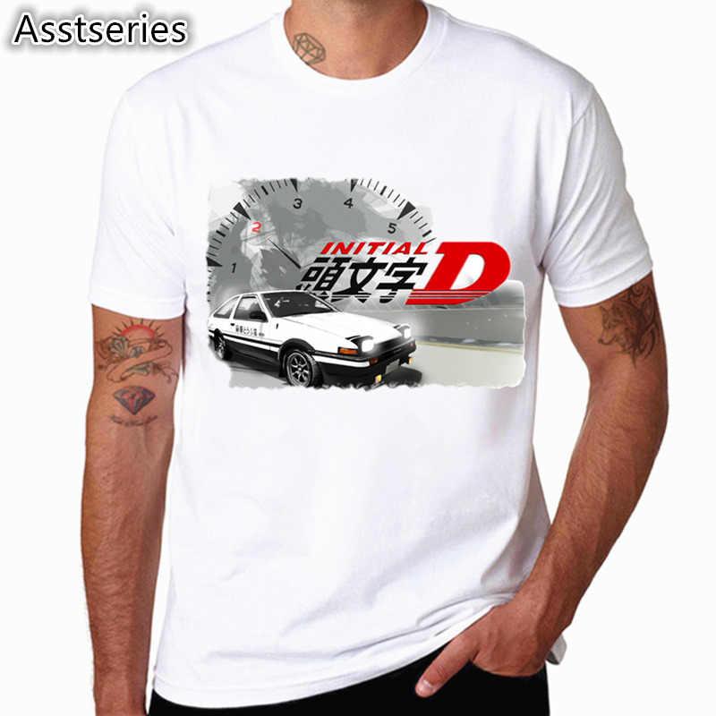 Uomini di Stampa Deriva Giapponese Anime Moda T Shirt Maniche Corte O Collo di Estate Fresco Casual AE86 Iniziale D Homme Tshirt