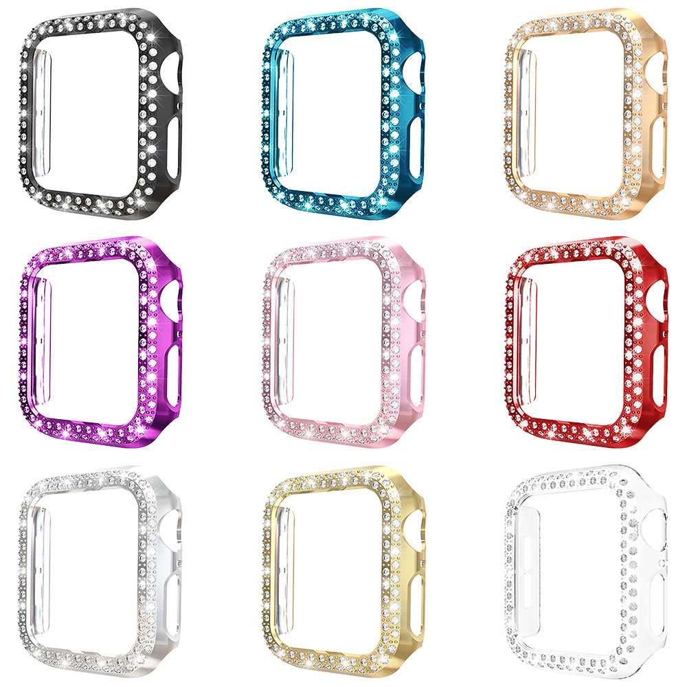 9 PCS Around Protect Diamond Cover for Apple Watch Series 5 <font><b>4</b></font> <font><b>3</b></font> <font><b>2</b></font> Case Shell 40mm 44mm 38mm 42mm PC Bumper for iWatch Frame image