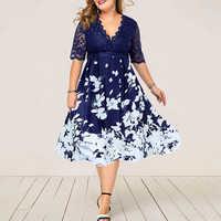 Plus Größe 6XL Elegante Frauen Kleid Spitze Blumen Printted Vestido Casual Party Herbst Kleid Frauen Mode büro Kleid D25