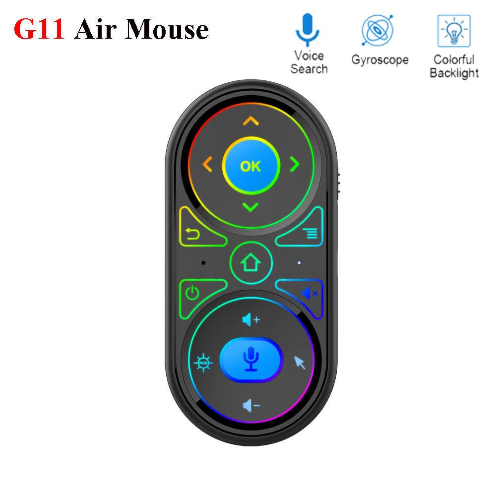 2020 New G11 Air Mouse Google Voice Microphone RGB Backlit Gyro remote control IR Learning 2.4G Wilress rechargeable mini remoteRemote Controls   - AliExpress