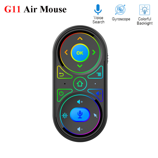 2020 New G11 Air Mouse Google Voice Microphone RGB Backlit Gyro remote control IR Learning 2.4G Wilress rechargeable mini remote