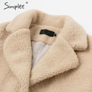 Image 3 - Simplee elegante feminino casaco de pele do falso outono inverno camelo salsicha quente casaco feminino streetwear plus size casaco de pele de escritório cordeiro