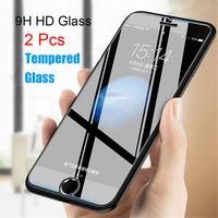 Protector de pantalla de vidrio templado para iPhone, Protector de pantalla de cristal para iPhone 11 12 Pro Max Mini 5 5S 5C 6 6S 7 8 Plus X 10 SE 5SE, 2 uds.