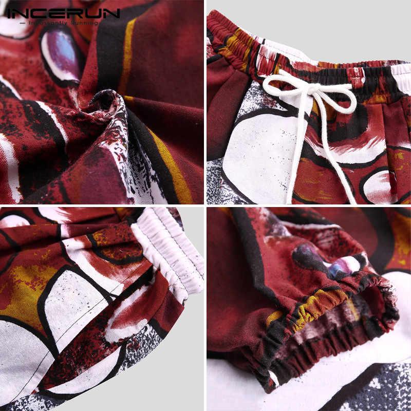 Incerun 남성 하렘 바지 조깅 느슨한 인쇄 드롭-가랑이 바지 주머니 drawstring streetwear 면화 캐주얼 타이 바지 남성 2020
