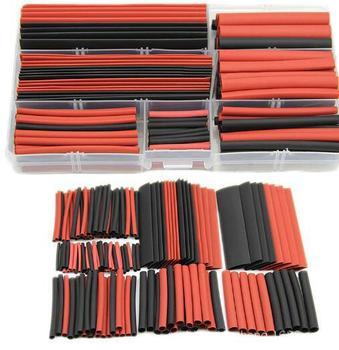 Tubo termorretráctil de poliolefina 2:1, Kit de envoltura de Cable de aislamiento, color rojo y negro, 150 Uds. 2