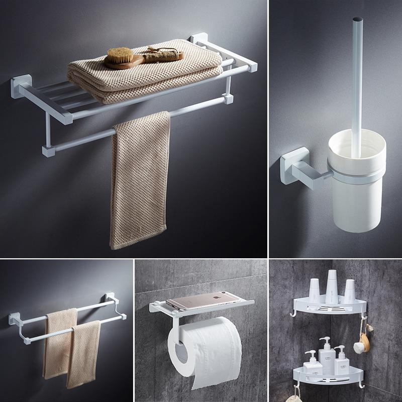 Northern European-Style White Towel Rack Perforated Toilet Storage Shelf Bath Towel Bathroom Clothes Rack Bathroom Hardware Acce