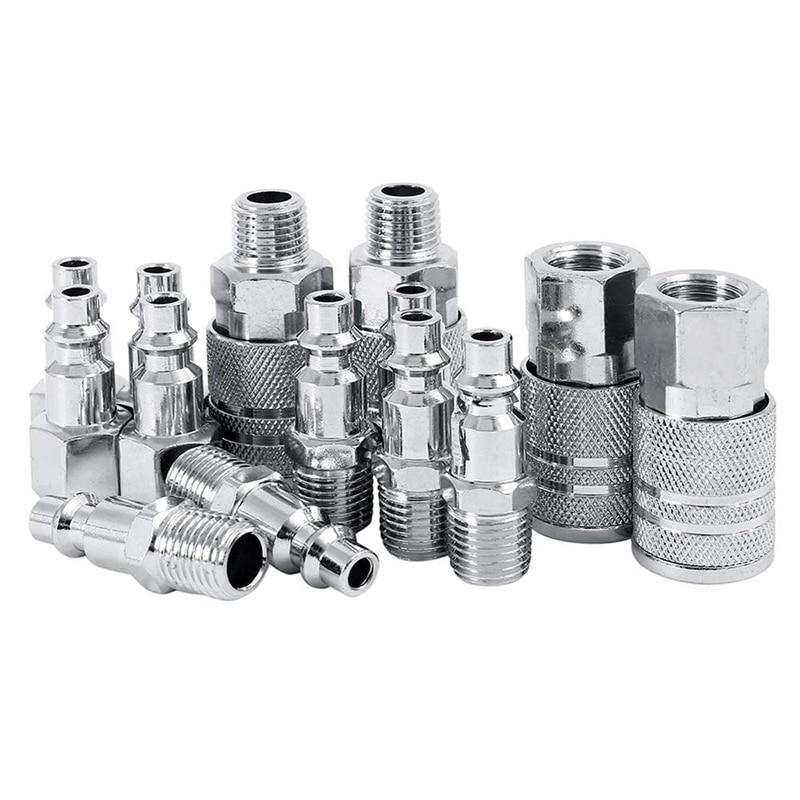 14 stücke Air Linie Schlauch Kompressor Fitting 1/4 Zoll Bsp Metall Anschlüsse Koppler Männlich-weibliche Quick Release Set