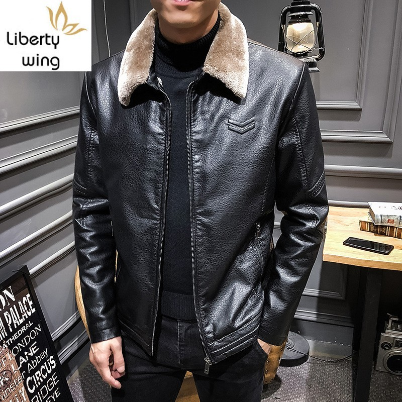 High Quality PU Leather Jacket Male Fur Collar Coat Men Winter Plus Velvet Outwear Wool Liner Thick Coats Mens Handsome Overcoat