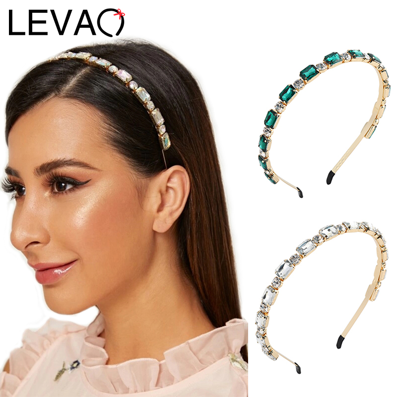 LEVAO Rhinestone Headband Women Geometric Hairband Bezel Turban Female Girls Headwear Bohemia Alloy Hair Accessories Hair Hoop