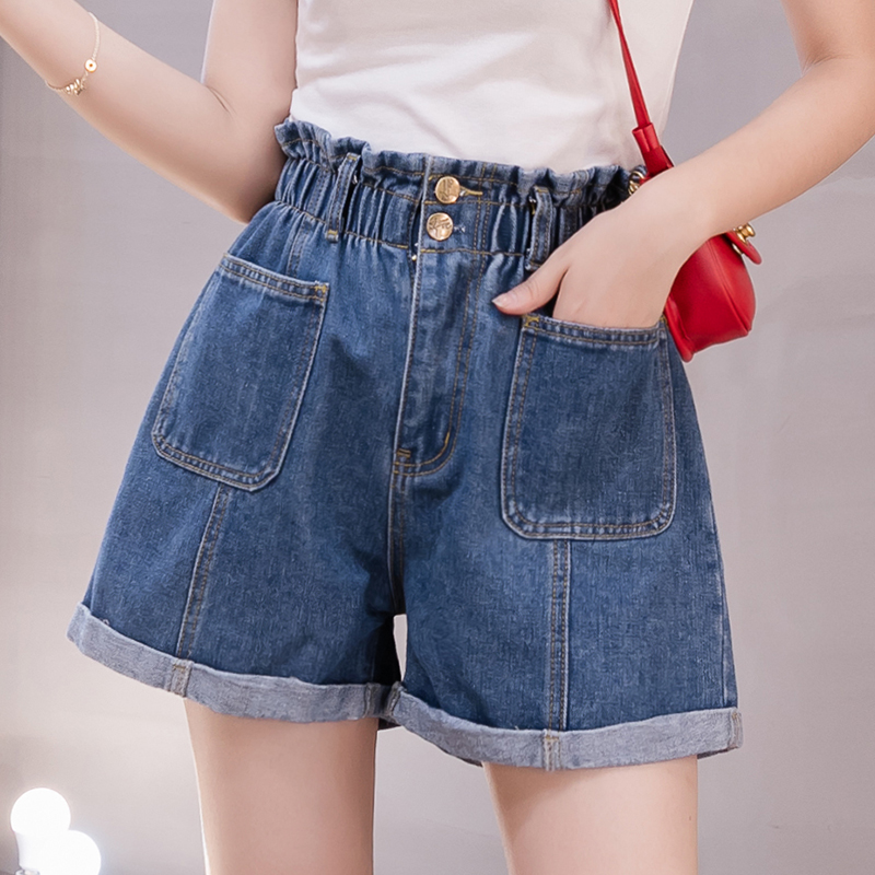 Summer 5XL Plus Size Denim Shorts Women High Waist Loose Curling Chic Hot Pants Blue Jeans Ladies Bottom Spodenki Damskie K5851
