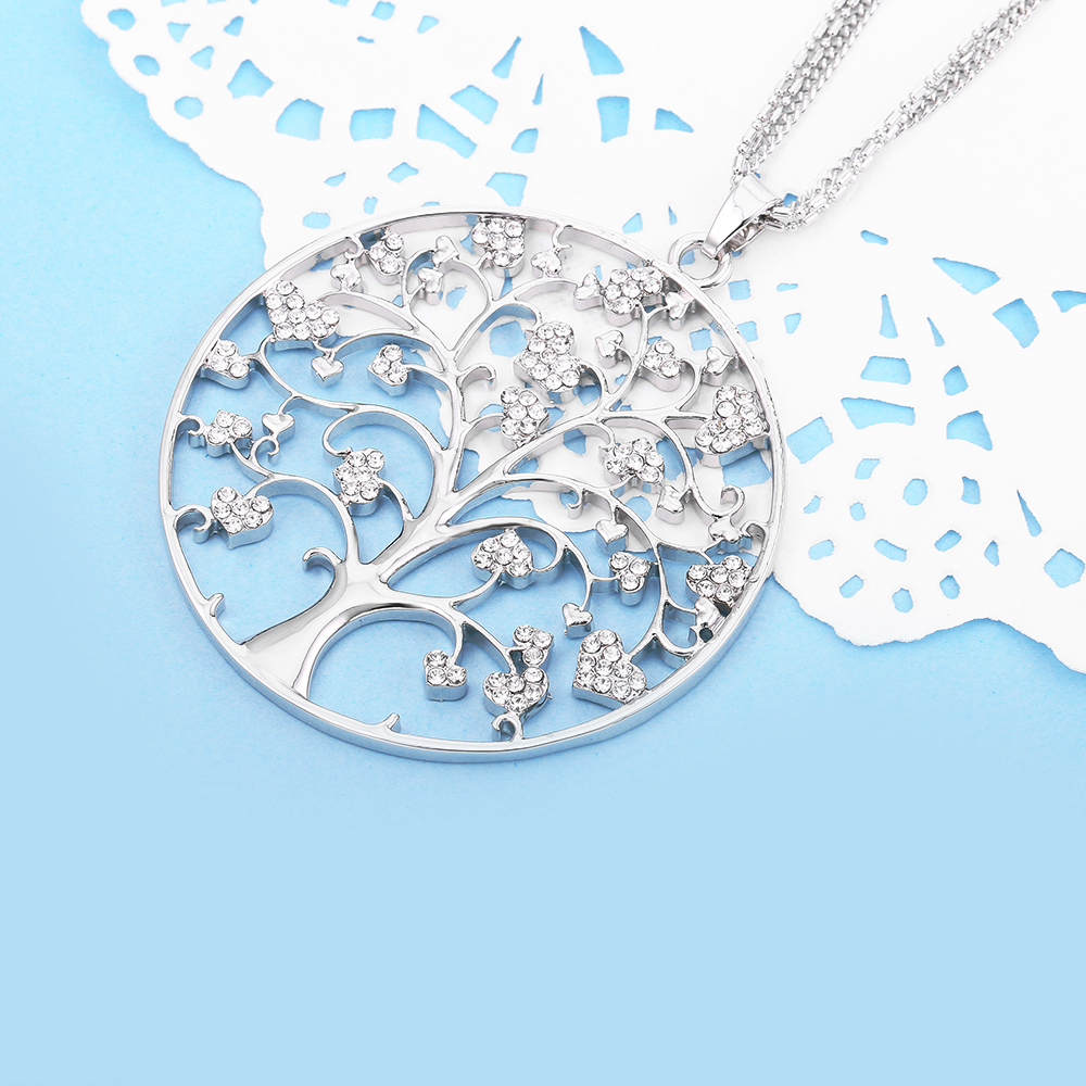 Életfa nyakláncok nőknek Nagy kerek medál szívvel CZ kristály - Divatékszer - Fénykép 5