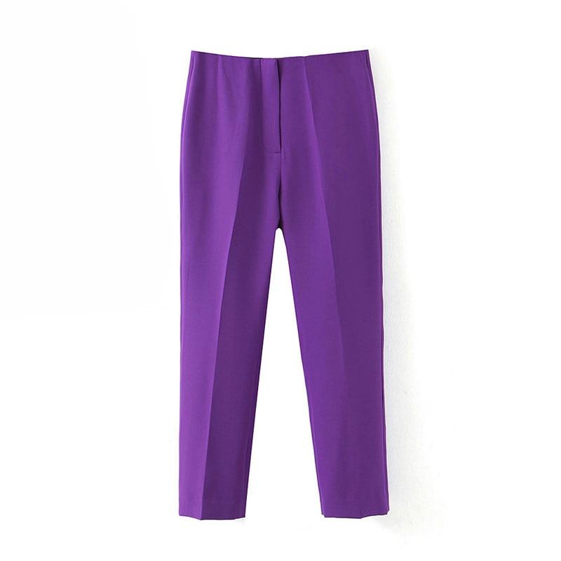 Women Solid Basic Pants Zipper Fly Pockets Purple European Style Female Office Wear 2020 Casual Trousers Pantalones