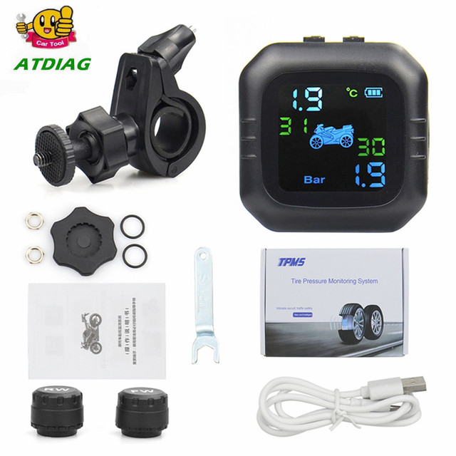 2021 USB Solar Charging Motorcycle TPMS Motor Tire Pressure Tyre Temperature Monitoring Alarm System with 2 External Sensors