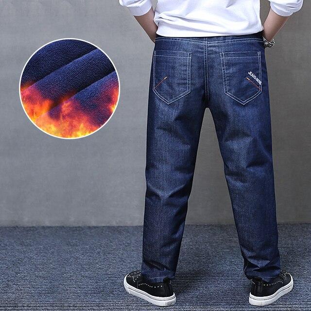 חורף ג ינס לילדים בתוספת קטיפה חם מכנסיים כותנה מוצק כחול בני סקיני ג ינס מכנסיים ילד גדול בגדים בגיל ההתבגרות רופף מכנסיים
