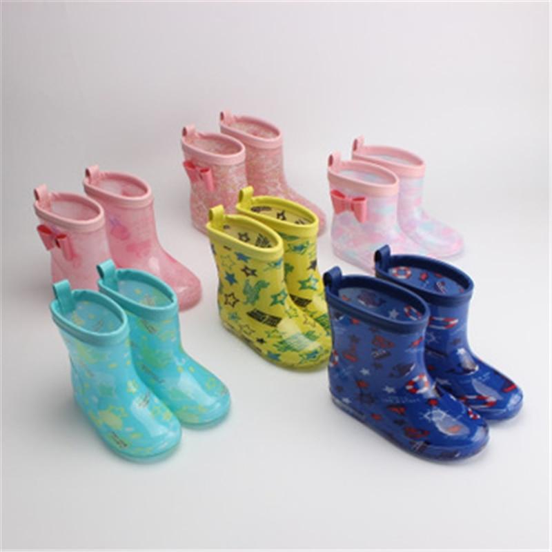 NEW 2020 Spring Children Rain Boots Soft Waterproof Rain Shoes Autumn Boys Girls Cartoon Butterfly-knot Ankle Boots 07A
