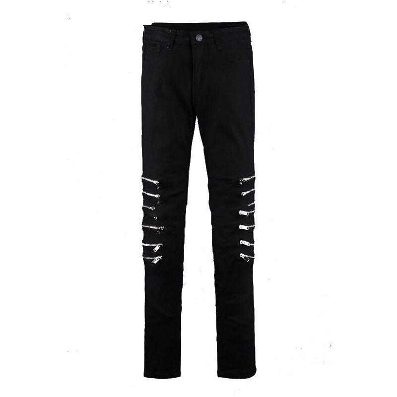 Обтягивающие мужские брюки, модные, модные, трендовые, в Корейском стиле, для самостоятельного развития, эластичные, на коленях, на молнии