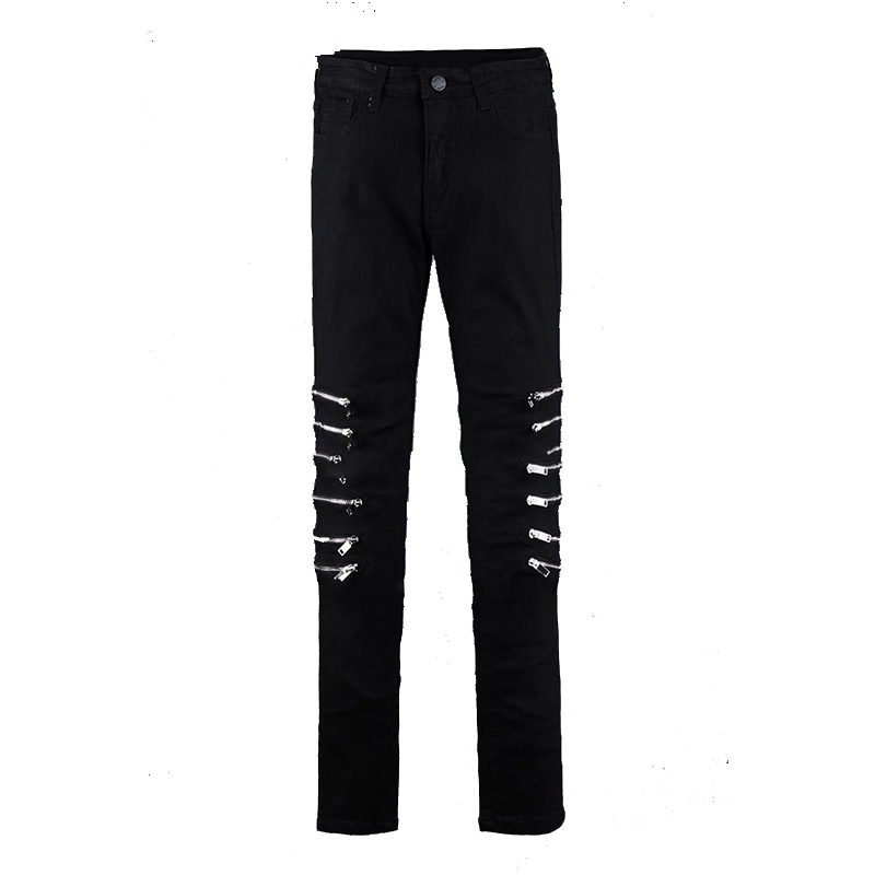 Tight Men's Trousers Fashion Personality Trend Korean Version Of The Self-cultivation Feet Stretch Knee Zip Large Size Hip Hop J