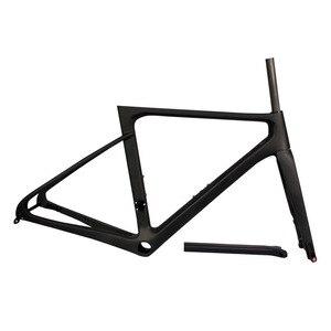Image 2 - カーボンフレームディスクブレーキ道路自転車フレーム推力 2019 レースバイクフレームカーボンスルーアクスルリアディレイラー 142 × 12 フロント 100 × 12 ミリメートル