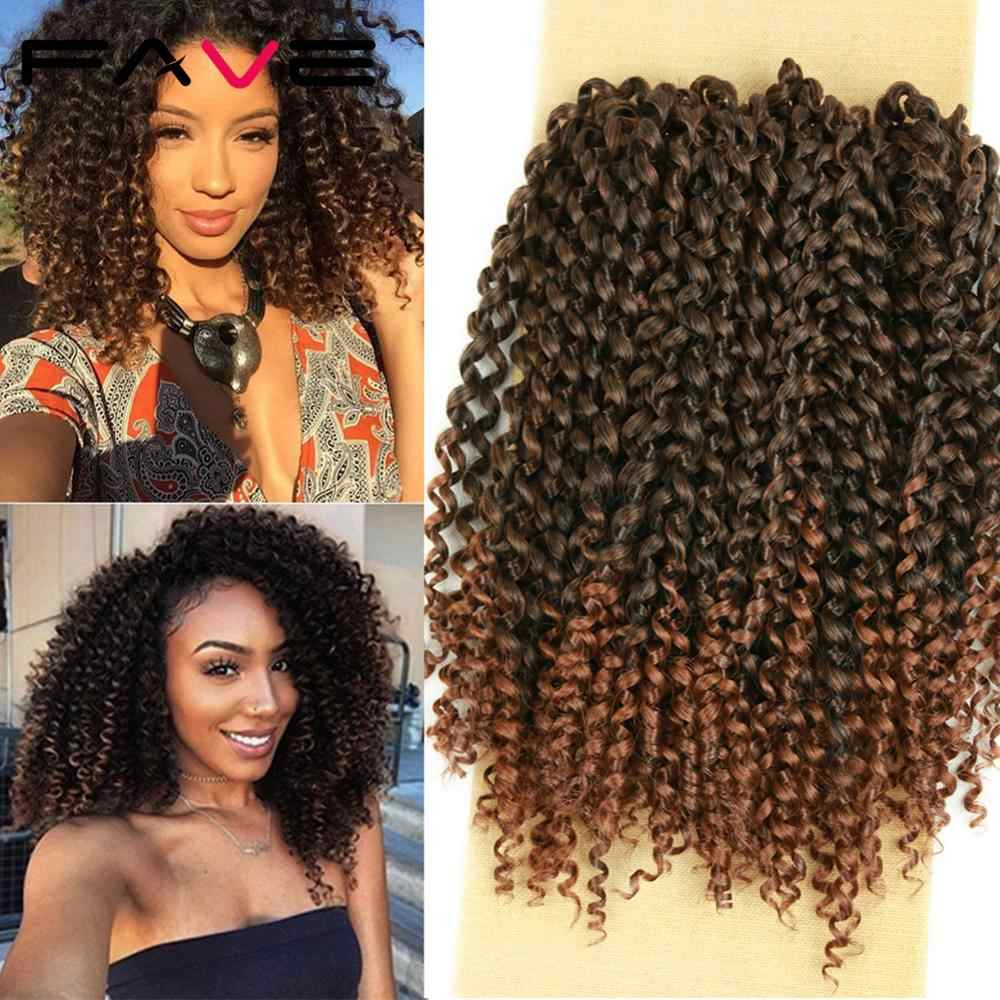 FAVE 8 inch 3 Pcs Lot Synthetic Hair Crochet Curly Hair Braid Black Brown Synthetic Hair Extensions Braiding For Black Women
