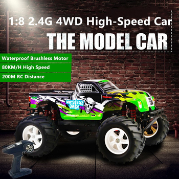 Brushless 4WD High-Speed Off-Road RC car 80KM/H 1:8 2.4G 200M 15mins Independent Shock Absorber Metal Differential Model Car Toy image