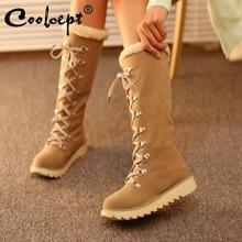 купить Coolcept Vintage Women Knee Snow Boots Lace Up Rivet Thick Fur Shoes Women Winter Flats Boots Plush Warm Lady Shoes Size 34-43 дешево