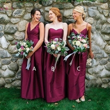 Wine Red Bridesmaid Dresses 2019 New Women Three Styles Sleeveless Satin A-Line Gowns For Wedding Party Guest vestido