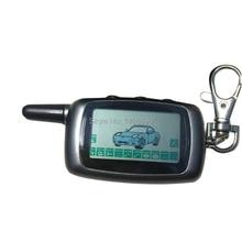 Llavero con Control remoto A9 para coche, 10 Uds./lote, sistema de alarma bidireccional, A9, rusa, cadena de cadena, A9