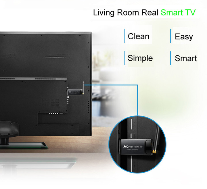 MK903V Android 7,1 ТВ ключ RK3228 четырехъядерный 2G/8G UHD 4K 2k Смарт ТВ карта HD 3D мини ПК H.265 WiFi DLNA смарт медиаплеер - 5